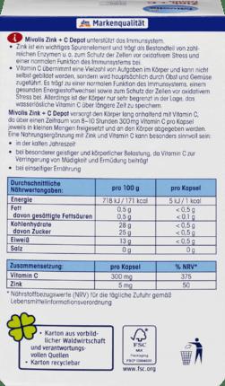 Mivolis Capsules de dépôt Zinc + C 60 pièces, 38 g
