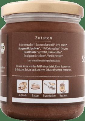 Pâte à tartiner au chocolat, tartinade au chocolat et noix de coco, 250 g