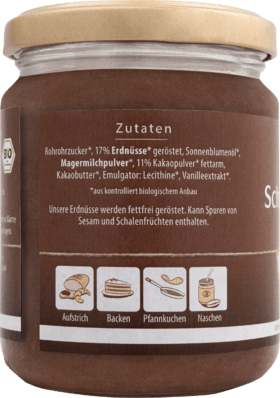 Pâte à tartiner au chocolat, tartinade au chocolat aux arachides, 250 g