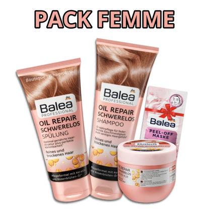 Picture of PACK Femme Soins Cheveux - Shampoing & Revitalisant Après-Shampoing + Masque Cheveux Oil Repair + Masque Visage GRATUIT